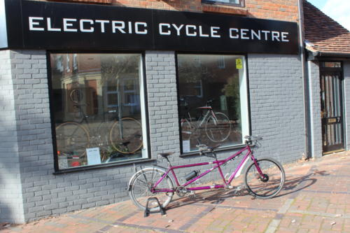 Customer's Thorn Raven tandem bicycle fitted with Cytronex C1 electric bike conversion kit