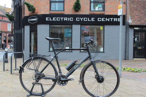 Customer's BMC Alpenchallenge hybrid road bicycle fitted with Cytronex C1 electric bike conversion kit