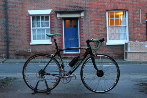Customer's Bianchi road bike fitted with Cytronex C1 electric bike conversion kit