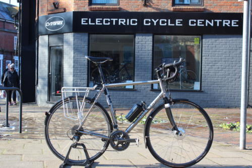 Customer's Lynskey titanium touring road bicycle fitted with Cytronex C1 electric bike conversion kit
