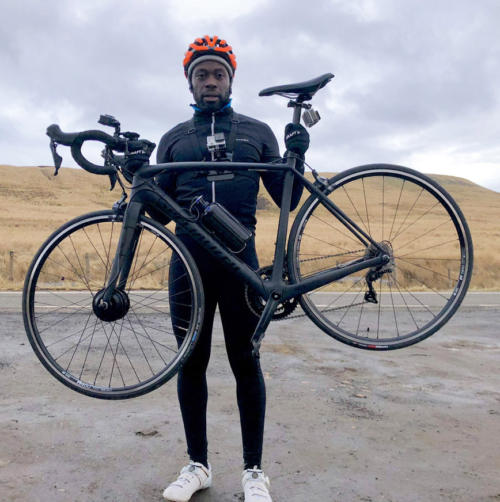 Ortis Deley of Gadget Show with the Cytronex C1 Specialized Tarmac road race bike