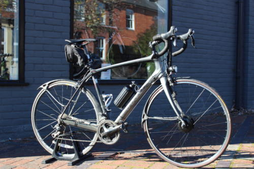 Customer's Trek road bicycle fitted with Cytronex C1 electric bike conversion kit